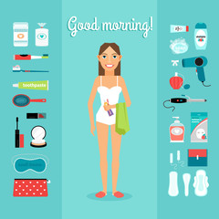 Women and necessary for morning hygiene items