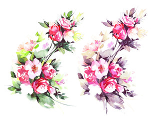 Spring branch with pink flowers. Hand made botanical illustration.