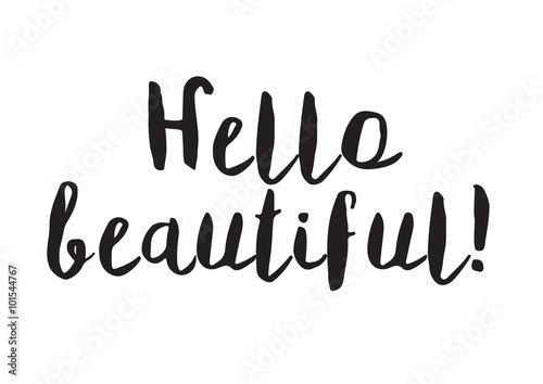 Hand lettering of hello spring on leaves sketch background hand