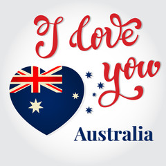 I love you Australia Hand lettering Greeting Card. Happy Austral