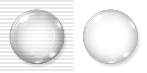 Big transparent glass sphere and opaque white sphere with glares and shadow. Transparency only in vector file