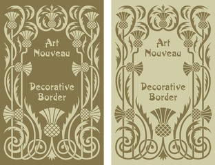 Art Nouveau decorative floral border design