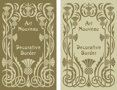 Art Nouveau decorative floral border design