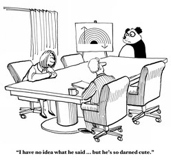 Business cartoon showing a panda leading a meeting, but the audience cannot understand what he is saying.