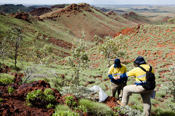 Geologists Sampling Rocks - Pilbara - Australia