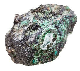piece of Malachite mineral stone isolated