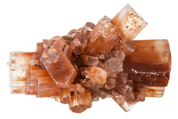 Aragonite mineral stone isolated on white