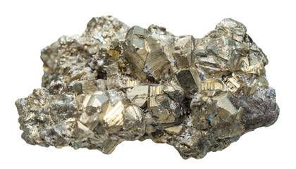 cristalline pyrite mineral stone isolated on white