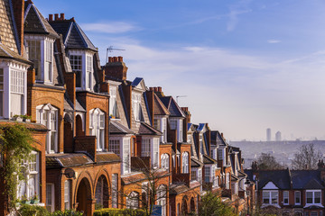 Brick houses on a panoramic shot early in the morning, London, UK