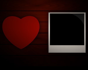 heart and a wooden board on picture