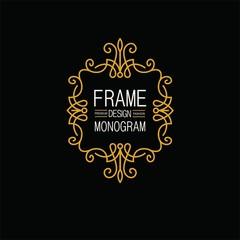 Elegant Line Art Frame, Logo and Monogram Design, vector template.