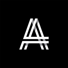 Capital letter A. Overlapping with shadows logo, monogram trendy design.