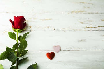 Rose and silk hearts background