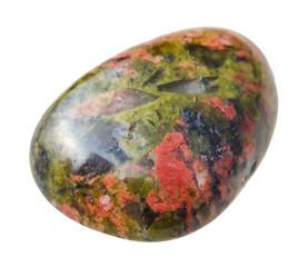 tumbled Unakite gemstone isolated on white