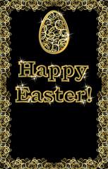 Happy Easter golden egg banner, vector illustration