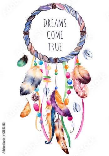 Hand drawn illustration of dreamcatcher.Ethnic illustration with ...