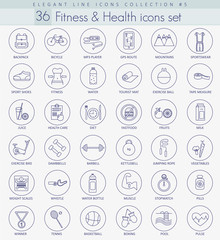 Vector fitness and health outline icon set. Elegant thin line style design
