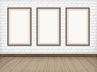 Vector show room with white brick wall, wooden floor and blank picture frames.