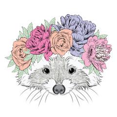 Raccoon in a wreath. Cute raccoon vector. Print. Flowers.