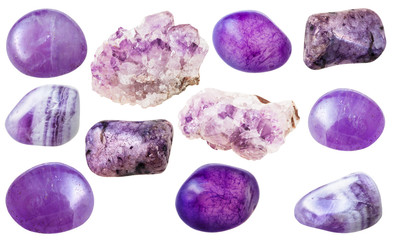 various amethyst gem stones isolated