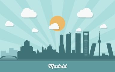 Madrid skyline - flat design