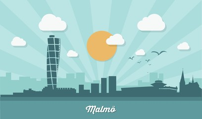 Malmo skyline - flat design