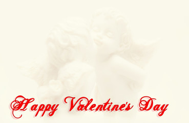 Greeting Card Happy Valentine's Day. gentle kiss angels