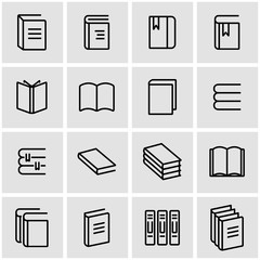 Vector line book icon set. Book Icon Object, Book Icon Picture, Book Icon Image - stock vector