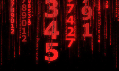the cyberspace with many sparkling falling lines numbers, abstract background with red digital lines