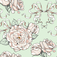 pattern with roses and ribbons, wedding theme
