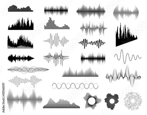 sound waves set stockfotos und lizenzfreie vektoren auf bild 101560597. Black Bedroom Furniture Sets. Home Design Ideas
