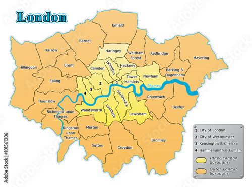 Greater London Administrative Map In Vector Stock Image And