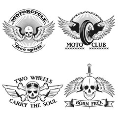Moto logo. biker stripe.Skull with wings motorcycle wheel, skull and bones biker tattoo.