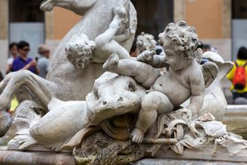 Piazza Navona Fountain of Neptun. Designed by Giacomo della Porta (1574) and Antonio della Bitta. Rome, Italy