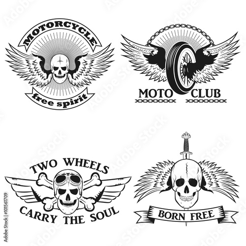Moto Logo Biker StripeSkull With Wings Motorcycle Wheel