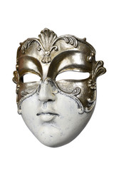 Carnival Venetian mask isolated on white background with clipping path.