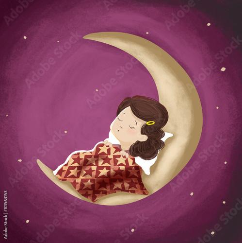 Dibujo de una ni a que est durmiendo o so ando en la for Que luna hay esta noche