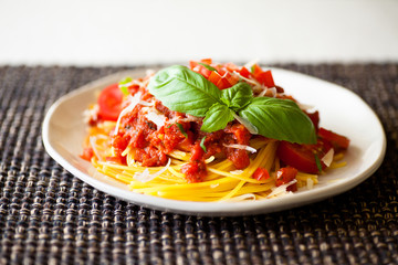 Spaghetti & Fresh Marinara Sauce with Basil