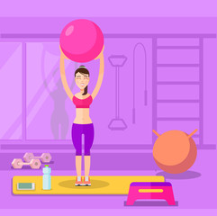 Sport and fitness. Vector flat illustration