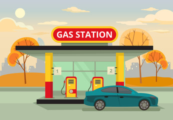 Petrol gas station. Vector flat illustration