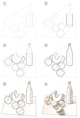 Page shows how to learn step by step to draw a still life. Developing children skills for drawing. Vector image.