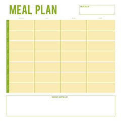 Meal Plan for a week, note page. Vector printable boxes,half boxes, in flat colors for planners, Printable to do pages for life planner. Diet plan page