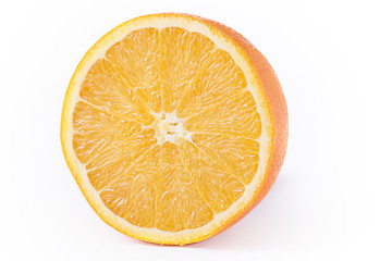 orange is fresh, juicy cut. half of the orange. isolated on white background with clipped path.