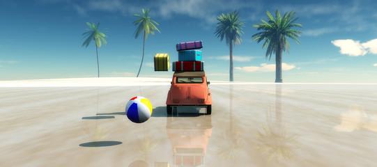 car, Sun and beach