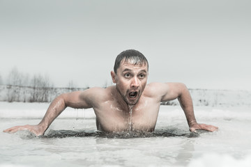 Ice hole swimming