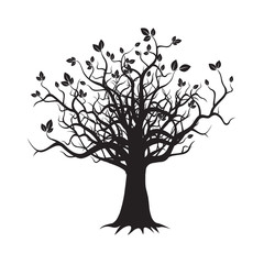 Old Black Tree. Vector Illustration.