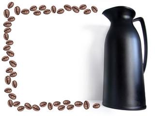 garrafa de café e grãos de café