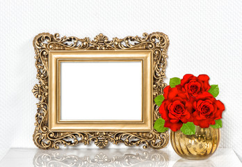 Golden picture frame red roses flowers. Vintage decoration