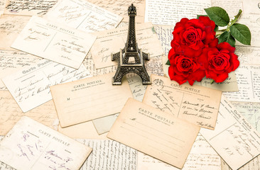 Red roses, old letters, Eiffel Tower from Paris