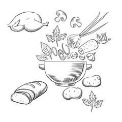 Sketch of cooking a dinner salad